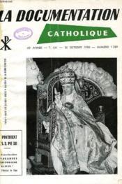 LA DOCUMENTATION CATGOLIQUE, 40e ANNEE, T. LV, N° 1289, 26 OCT. 1958 - Couverture - Format classique