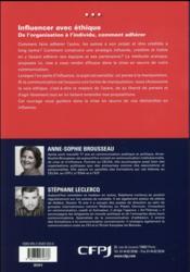 Influencer avec éthique ; de l'organisation à l'individu, comment faire adhérer - 4ème de couverture - Format classique