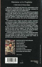 Marianne Et Le Prophete ; L'Islam En France - 4ème de couverture - Format classique