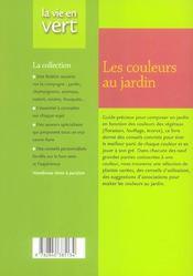 Les couleurs au jardin - 4ème de couverture - Format classique