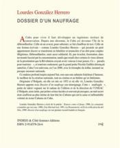 Dossier d'un naufrage - 4ème de couverture - Format classique