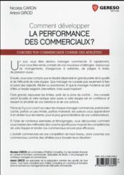 Comment développer la performance des commerciaux ? - 4ème de couverture - Format classique