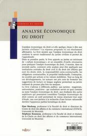 Analyse économique du droit - 4ème de couverture - Format classique
