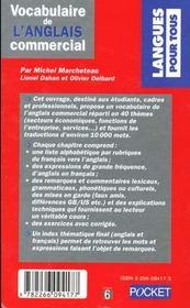 Vocabulaire De L'Anglais Commercial - 4ème de couverture - Format classique