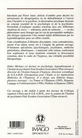 Hypnose et dissociation psychique - 4ème de couverture - Format classique