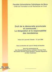 Droit de la démocratie provinciale et communale - Couverture - Format classique