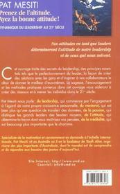 Prenez De L'Altitude ; Ayez La Bonne Attitude ; Dynamique Du Leadership Au Xxi Siecle - 4ème de couverture - Format classique