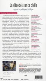 La désobéissance civile ; approches politique et juridique - 4ème de couverture - Format classique