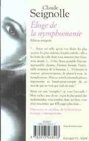 Eloge De La Nymphomanie - 4ème de couverture - Format classique