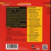 L'essentiel des finances locales ; 2012-2013 (7e édition) - 4ème de couverture - Format classique