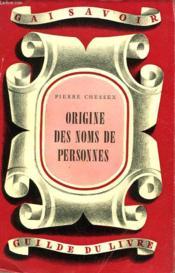 Origine Des Noms Des Personnes - Couverture - Format classique