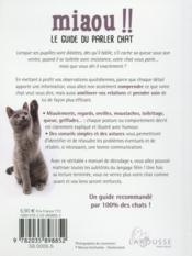 Miaou !! le guide du parler chat - 4ème de couverture - Format classique