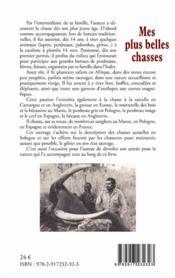 Mes plus belles chasses ; carnets cynégétiques de la grive à l'éléphant - 4ème de couverture - Format classique