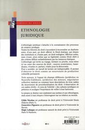 Ethnologie juridique ; autour de trois exercices - 4ème de couverture - Format classique