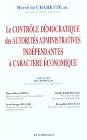 Le controle democratique des autorites administratives independantes a caractere economique - Intérieur - Format classique