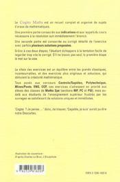 Cogito Maths Exercices De Mathematiques Pour Les Concours Avec Indications Et Corriges Mp-Pc-Psi - 4ème de couverture - Format classique