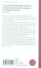 Les Decisions Doctrinales Du Grand Sanhedrin Reuni Sous Les Auspices De Napoleon - 4ème de couverture - Format classique