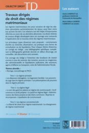 Travaux dirigés de droit des régimes matrimoniaux (7e édition) - 4ème de couverture - Format classique