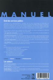 Droit des services publics ; à jour de la loi Notre du 7 août 2015 (2e édition) - 4ème de couverture - Format classique