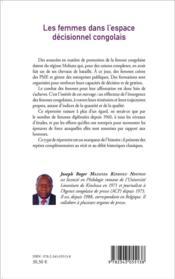 Les femmes dans l'espace décisionnel congolais - 4ème de couverture - Format classique