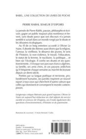 Pierre Rabhi, semeur d'espoirs ; entretiens - 4ème de couverture - Format classique