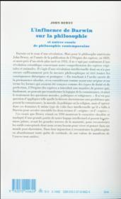 L'influence de Darwin sur la philosophie et autres essais de philosophie contemporaine - 4ème de couverture - Format classique