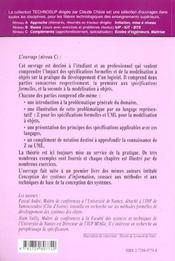 Genie Logiciel Specification Des Logiciels Deux Exemples De Pratiques Recentes Z Et Uml - 4ème de couverture - Format classique