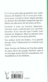 St Antoine De Padoue - 4ème de couverture - Format classique