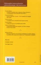 Revue Les Etudes Philosophiques N.2013/2 ; Philosophie Transcendantale, Phénoménologie, Déconstruction - 4ème de couverture - Format classique