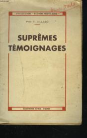 Supremes Temoignages - Couverture - Format classique