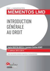 Introduction générale au droit (édition 2013-2014) - Couverture - Format classique