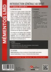 Introduction générale au droit (édition 2013-2014) - 4ème de couverture - Format classique