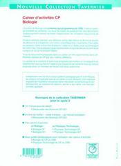 Biologie ; CP ; cahiers d'activités - 4ème de couverture - Format classique