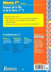 Memo essentiel svt 1re s - 4ème de couverture - Format classique
