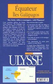 Guide Ulysse ; Equateur ; 3e Edition - 4ème de couverture - Format classique