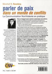 Parler de paix dans un monde de conflits - 4ème de couverture - Format classique