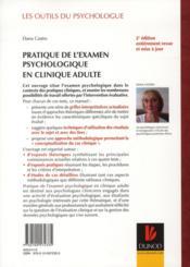 Pratique de l'examen psychologique en clinique adulte (2e édition) ; WAIS III, MMPI-2, Rorschach, TAT - 4ème de couverture - Format classique
