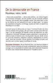 De la démocratie en France ; République, nation, laïcité - 4ème de couverture - Format classique