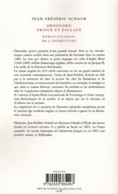 Oroonoko, prince et esclave ; roman colonial de l'incertitude - 4ème de couverture - Format classique