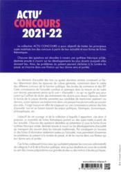 Actu'concours ; culture générale ; concours 2021-2022 (édition 2021/2022) - 4ème de couverture - Format classique