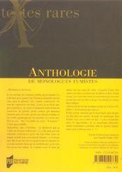 Anthologie de monologues fumistes - 4ème de couverture - Format classique