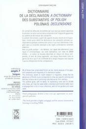 Dictionnaire De La Declinaison Des Substantifs Polonais - 4ème de couverture - Format classique