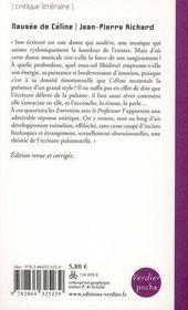 Nausée de Céline - 4ème de couverture - Format classique
