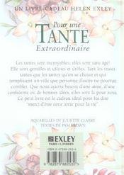 Pour Une Tante Extraordinaire Nlle Edition - 4ème de couverture - Format classique