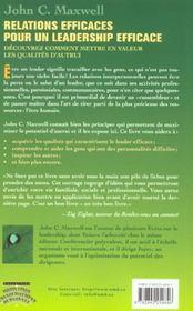 Relations efficaces leadership - 4ème de couverture - Format classique