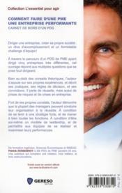 Comment faire d'une PME une entreprise performante ; carnet de bord d'un PDG - 4ème de couverture - Format classique