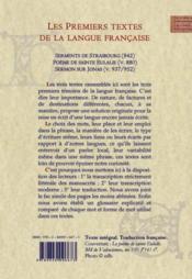 Les premiers textes de la langue française : serments de Strasbourg ; poème de sainte Eulalie, sermon sur Jonas - 4ème de couverture - Format classique