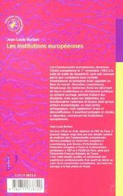 Les institutions européennes - 4ème de couverture - Format classique