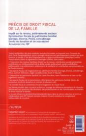 Précis de droit fiscal de la famille (13e édition) - 4ème de couverture - Format classique