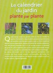 Le calendrier du jardin, plante par plante - 4ème de couverture - Format classique